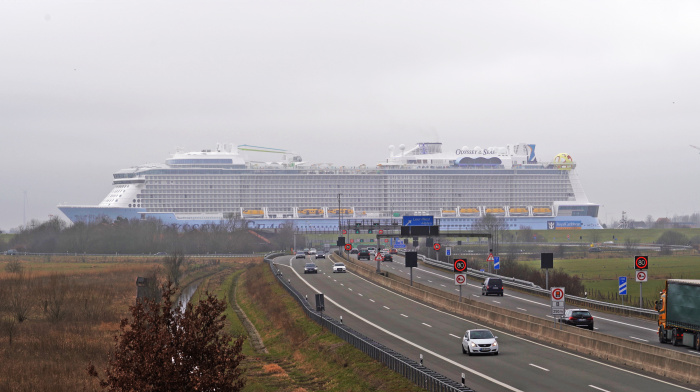 March 2021 – Odyssey of the Seas passes the autobahn on its 20-mile (32-kilometer), 10-plus-hour conveyance down the Ems River.