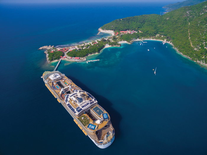 Royal Caribbean's Allure of the Seas at Labadee, Haiti, Royal Caribbean's private destination. The Oasis Class ship touts the signature seven-neighborhood concept that offers vacationers thrills and relaxation. From the FlowRider surf simulator and 9-deck-high zip line in the Pool and Sports Zone, to the Boardwalk and its one-of-a-kind open-air AquaTheater, and the Youth Zone, the Oasis Class ship is designed for every member of the family.