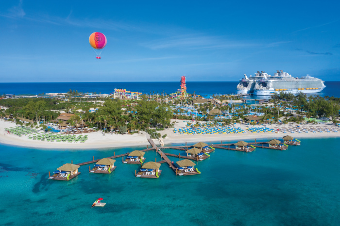 January 2020 - Coco Beach Club, the exclusive beach club at Perfect Day at CocoCay, touts the first floating cabanas in The Bahamas, a dedicated restaurant with upscale dining, an oceanfront infinity pool and beach cabanas with seaside views.