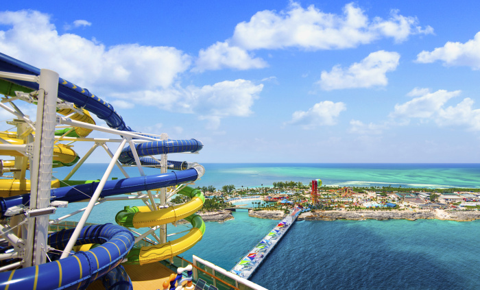 Adventure of the Seas features The Perfect Storm duo of racer waterslides, a guest-favorite that boasts three stories of high-speed adventure. Cyclone and Typhoon take guests on the ultimate ride as they go head-to-head through twists and turns for bragging rights.