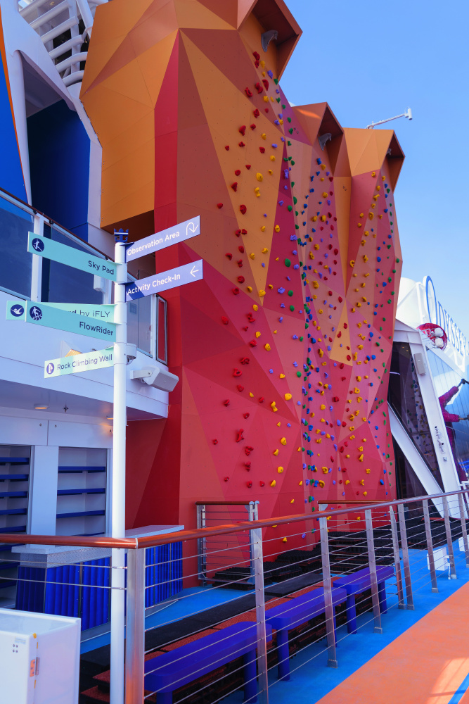 March 2021 – A sneak peek of the rock-climbing wall on Odyssey of the Seas. The highly anticipated ship will officially join the Royal Caribbean fleet on March 31.