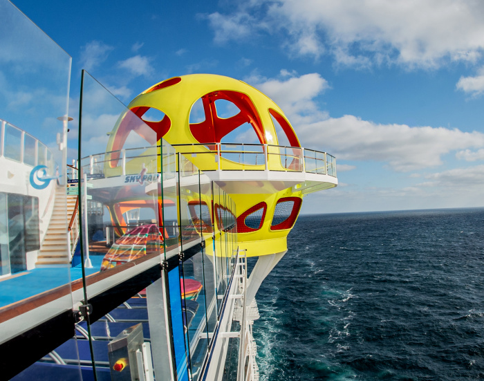 April 2021 – A first look inside Odyssey of the Seas. On deck aboard the new ship are adventures of all kinds, including Sky Pad, a bungee trampoline virtual reality adventure, skydiving at RipCord by iFly, the signature FlowRider surf simulator, and rock climbing.