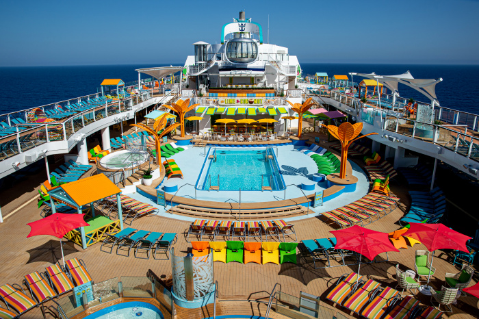 April 2021 – A first look inside Odyssey of the Seas. A Caribbean-inspired pool deck takes island-hopping in the Mediterranean and Caribbean to the next level. Highlights include resort-style pools, The Lime & Coconut, a vibrant three-story bar, on-the-go bites at El Loco Fresh; and North Star, the glass observation capsule that offers 360-degree views from as high as 300 feet.