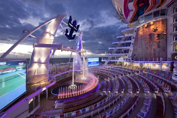 Allure of the Seas' AquaTheater located in the ship's Boardwalk neighborhood.