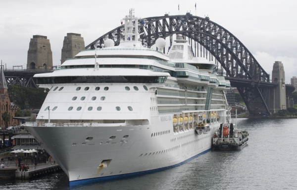 Royal Caribbean's Radiance of the Seas docked at Sydney Harbour in Sydney, Australia.