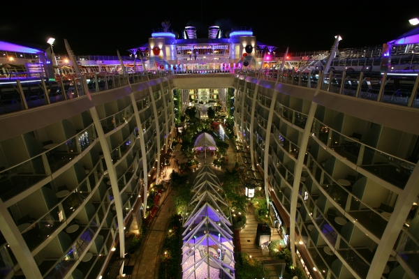 A view at night of the Central Park neighborhood onboard Oasis of the Seas.