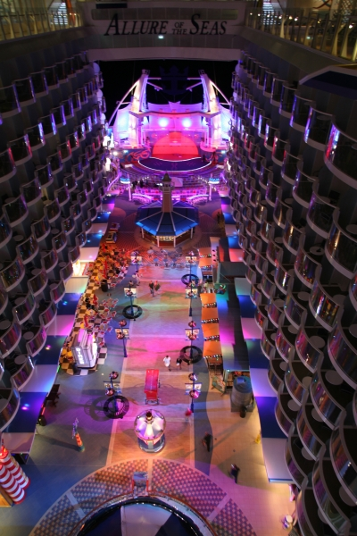 Launch of Royal Caribbean International's newest ship Allure of the Seas. Board Walk at night