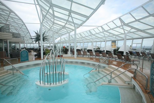 A whirlpool located in the adults only Solarium onboard Royal Caribbean's Allure of the Seas.