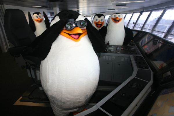 Royal Caribbean International's newest ship Allure of the Seas features the Dreamworks' Expereince onboard. Pictured here are Madagascars' Penguin characters on the ship's bridge.