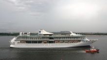 February 2013 - Royal Caribbean International's Legend of the Seas departs the Sembawang Shipyard in Singapore after her month-long $50 million revitalization.