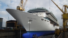 February 2013 - Royal Caribbean International's Legend of the Seas gets ready to depart the Sembawang Shipyard in Singapore after her month-long $50 million revitalization.