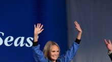 "April 16, 2013 - Kristin Chenoweth, godmother of Quantum of the Seas was on hand to announce all of the innovative amenities that will be found onboard Royal Caribbean's newest ship. Quantum of the Seas will take a dramatic leap forward, introducing more game-changing ""firsts at sea"" such as a skydiving experience, a thrilling adventure that transports guests more than 300 feet in the air on a breathtaking journey; cutting-edge transformative venues including the largest indoor sports and entertainment complex at sea with bumper cars, roller skating and more; and the cruise line's largest and most advanced staterooms ever. (Photo: Tim Aylen)"