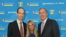 April 16, 2013 - Adam Goldstein (left), president and CEO, Royal Caribbean Internantional; Kristin Chenoweth, godmother of Quantum of the Seas, and Richard Fain (right), chairman and CEO of Royal Caribbean Cruises Ltd. pose after announcing the major features of Quantum of the Seas. (photos Tim Aylen)
