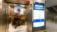 Royal Caribbean introduces its newest and most technologically advanced cruise ship <em>Anthem of the Seas</em>. Stowaway Piano player in the elevator