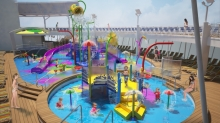 <span>August 2015 - Royal Caribbean International will amp up the adventure when the cruise line debuts <em>Harmony of the Seas</em>, the world's largest cruise ship and the first to feature Splashaway Bay an interactive aqua park for kids. Splashaway Bay will be a vibrant waterscape for kids and toddlers with sea creature water cannons, winding slides, a gigantic drench bucket and a multi-platform jungle-gym to keep everyone entertained for hours.</span>