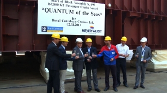 Two Shipbuilding Milestones for Quantum Class: Royal Caribbean Celebrates Keel Laying and Steel Cutting
