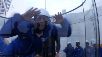 Dhani Jones in RipCord by iFLY onboard Quantum of the Seas
