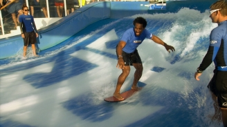 Dhani Jones Surfs Freedom of the Seas' FlowRider