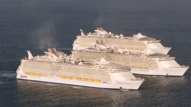 New Harmony of the Seas Welcomed by her Sister Ships: Royal Caribbean Celebrates Unprecedented Meeting of World's Largest Ships