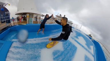 Carlos PenaVega Surfs on the World's Largest Ship